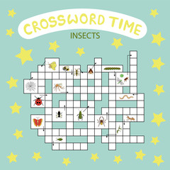 Vector crossword puzzle. Bright and colorful quiz for children. Insect topic