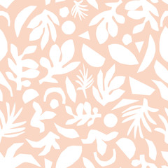 Subtle pink and white floral background vector. Feminine Seamless surface pattern design