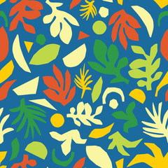 Abstract summer leaves seamless vector background. Green orange yellow blue floral elements paper collage illustration