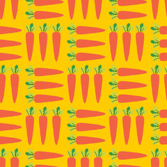 Healthy food background. Carrot Field seamless vector pattern. Vegetable background on yellow.