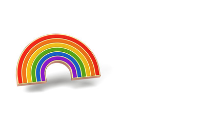 Gay pride rainbow isolated on white background. Copy space on the left side. LGBTQ and homosexual minority pride symbol concept. 3D rendering
