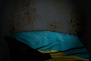 wonderful any holiday flag 3d illustration. - dark picture of Bahamas flag with large folds on rusty metal with empty space for content