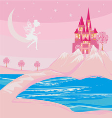 Door stickers Light pink fairy and a medieval castle in a magical land
