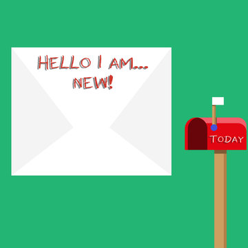 Text sign showing Hello I Am New. Business photo showcasing used as greeting or to begin telephone conversation Blank Big White Envelope and Open Red Mailbox with Small Flag Up Signalling