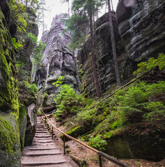 The path winding between the famous sandstone rock towers of Adrspach and Teplice Rocks. Adrspach National Park in northeastern Bohemia, Czech Republic, Europe