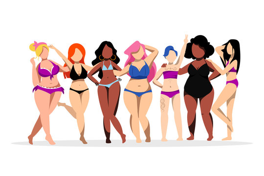 Women with different figures, skin colors. Body positive concept. Vector flat illustration. Plus size girls in bikini