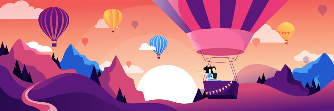 Couple flying hot air balloon above mountains. Air balloon festival vector flat illustration. Romantic summer travel