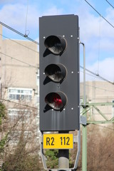 Red signal light for randstadrail trams on the station Den Haag laan van Noi in the Netherlands