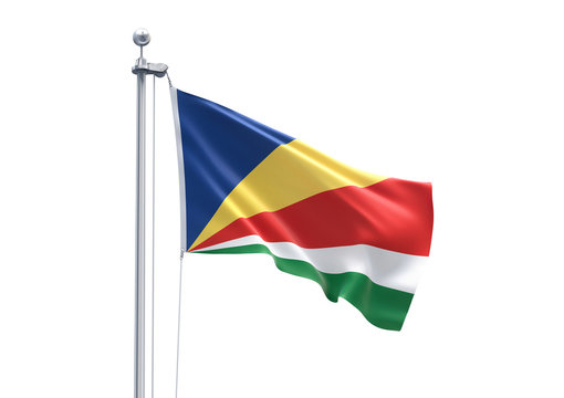3D Rendering of Seychelles Flag is Waving in the Sky - 3d illustration