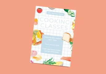 Cooking Classes Poster Layout with Illustrative Accents
