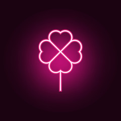 clover icon. Elements of Web in neon style icons. Simple icon for websites, web design, mobile app, info graphics
