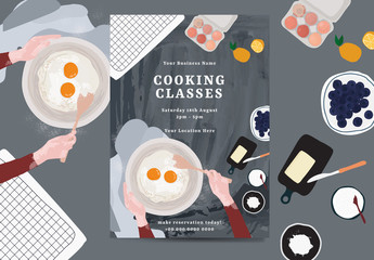 Cooking Classes Layout with Illustrative Accents