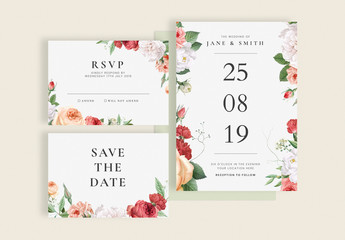 Floral Wedding Invitation Cards Layout