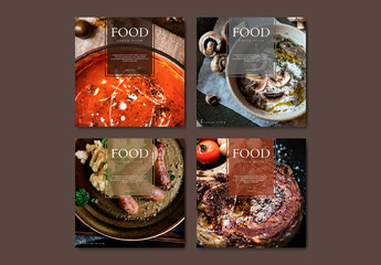 Restaurant Food Banner Layout with Illustrative Elements