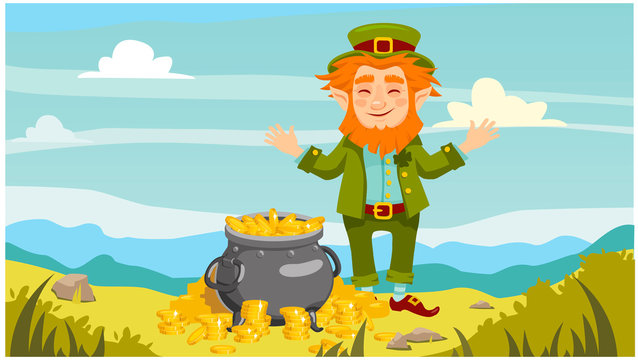 Happy leprechaun and a pot of gold coins. horizontal background