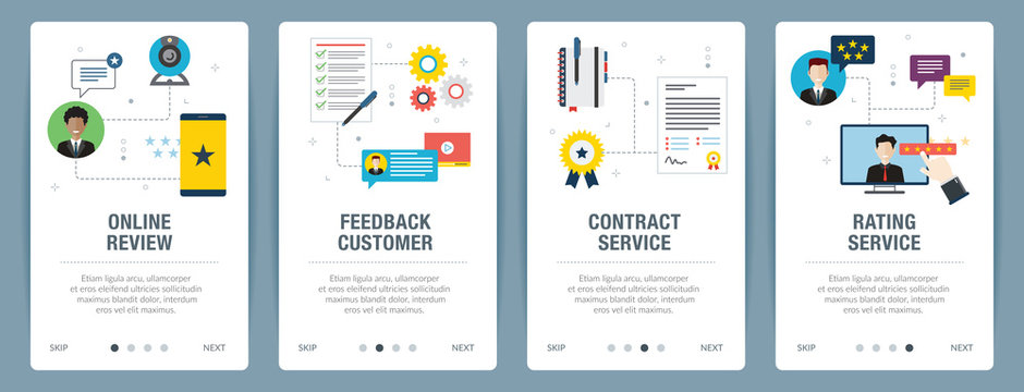 Web banners concept in vector with online review, feedback customer, contract service and rating service. Internet website banner concept with icon set. Flat design vector illustration.