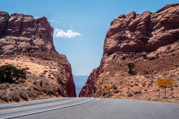 Poster Route 66 Road through the desert of Arizona - travel photography