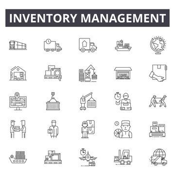 Inventory management line icons, signs set, vector. Inventory management outline concept illustration: inventory,management,warehouse,business,delivery,storage,product