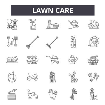 Lawn care line icons, signs set, vector. Lawn care outline concept illustration: care,gardening,lawn,plant,nature,garden,design