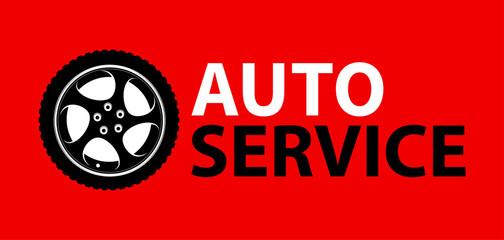 Auto Service Logo emblem on colorful red color