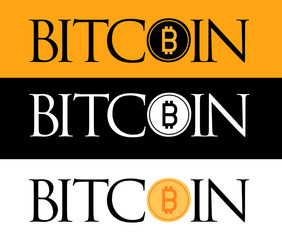 Golden Bitcoin icon isolated on golden, white and black background