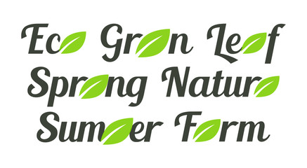 Labels with green leafs, Eco, Green, Leaf and Spring, Nature, Samer and Farm on Dark background