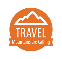 Logotype emblem for Travel company. Mountains are Calling.