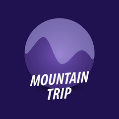 Mountain Trip, Round vector logotype in violet