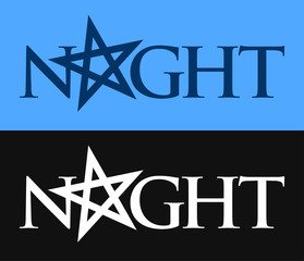 Night, Vector symbol of Phrase with pentagram. Logo with mood of gothic, night and dark.