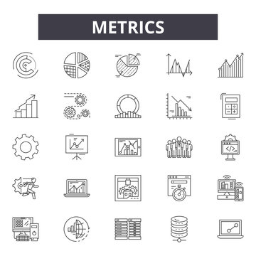 Metrics line icons, signs set, vector. Metrics outline concept illustration: web,graph,business,chart,metrics,concept,metric