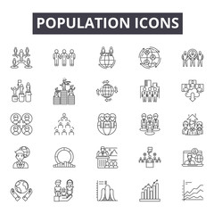 Population line icons, signs set, vector. Population outline concept illustration: population,people,team,group,person,business