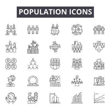 Population line icons, signs set, vector. Population outline concept illustration: population,people,team,group,person,business