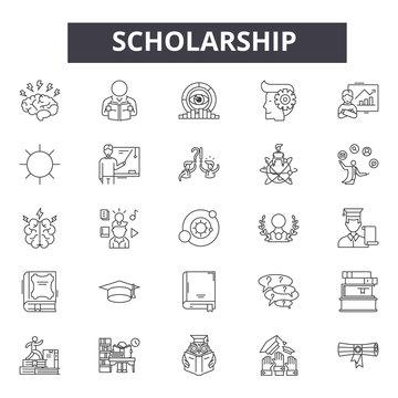 Scholarship line icons, signs set, vector. Scholarship outline concept illustration: education,scholarship,university,destudent,cap,college