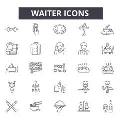 Waiter line icons, signs set, vector. Waiter outline concept illustration: food,waiter,restaurant,dinner,dish,plate,menu