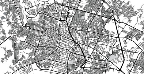 Urban vector city map of Leon, Mexico