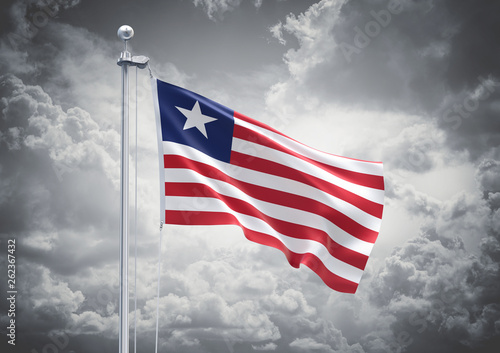 3D Rendering of Liberia Flag is Waving in the Sky - 3d