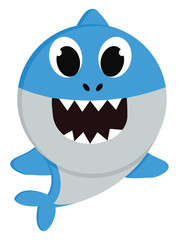 A blue baby shark vector or color illustration