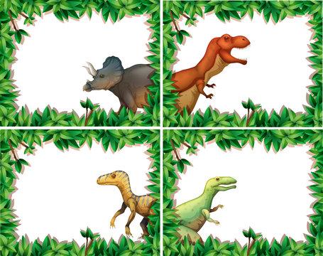 Set of dinosaur in nature frame