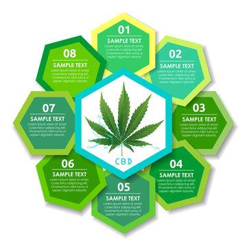 Marijuana plant and brain on CBD backgrounds.