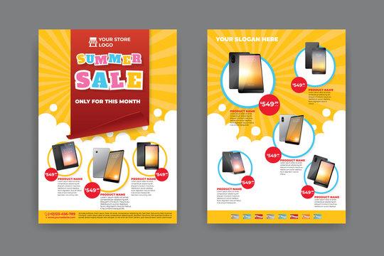 2 sides flyer template for Summer Sale Promotion