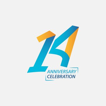 14 Year Anniversary Celebration Vector Template Design Illustration