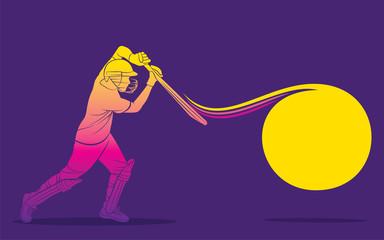 cricket player hitting big shot Papier Peint