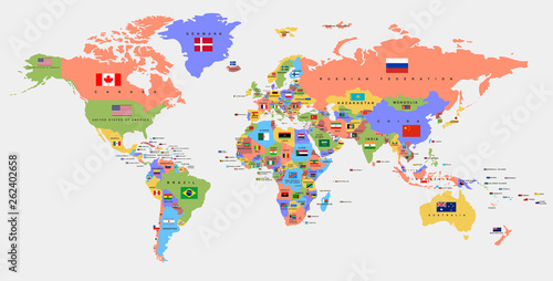 Color World Map With The Names Of Countries And National Flags
