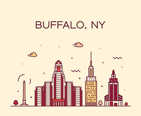 Wall Mural - Buffalo skyline New York USA vector linear style