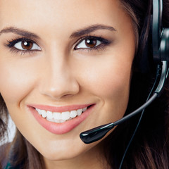 Support female phone operator in headset