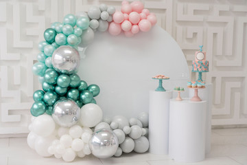 Birthday Part zone with pink silver  turquoise baloons and birthday cake