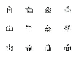 City infrastructure line icon set