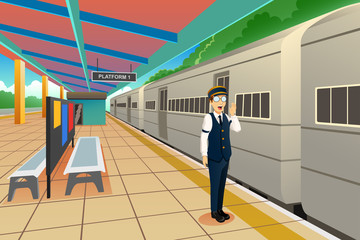 Train Conductor Illustration Fotomurales