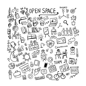 Coworking space, concept background for your design
