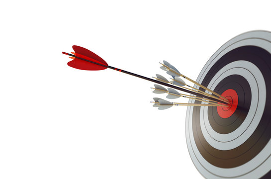 Arrow hit the center of target. Business target achievement concept. Isolated on white background. 3D Rendering